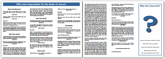 Free Gospel Tract ~ Why Did Jesus Die?